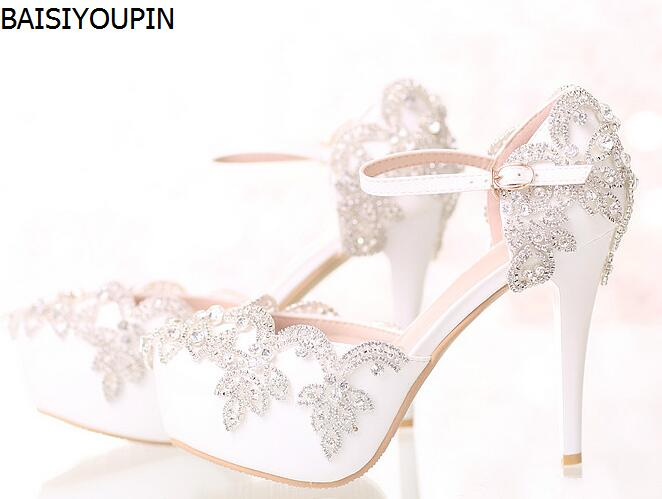 2018 White Diamond Wedding Shoes High Heels Wristband Paltform Shoes 14cm Crystal Bride Dress Shoes Sandals Women's Shoes 2017 white lace butterfly crystal pendant with ultra fine pointed high heeled shoes the bride wedding shoes wristband sandals