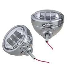 Support de boîtier chromé de 4.5 pouces, support de bague de montage, seau avec paire de phare antibrouillard, lampe de passage pour moto de tourisme
