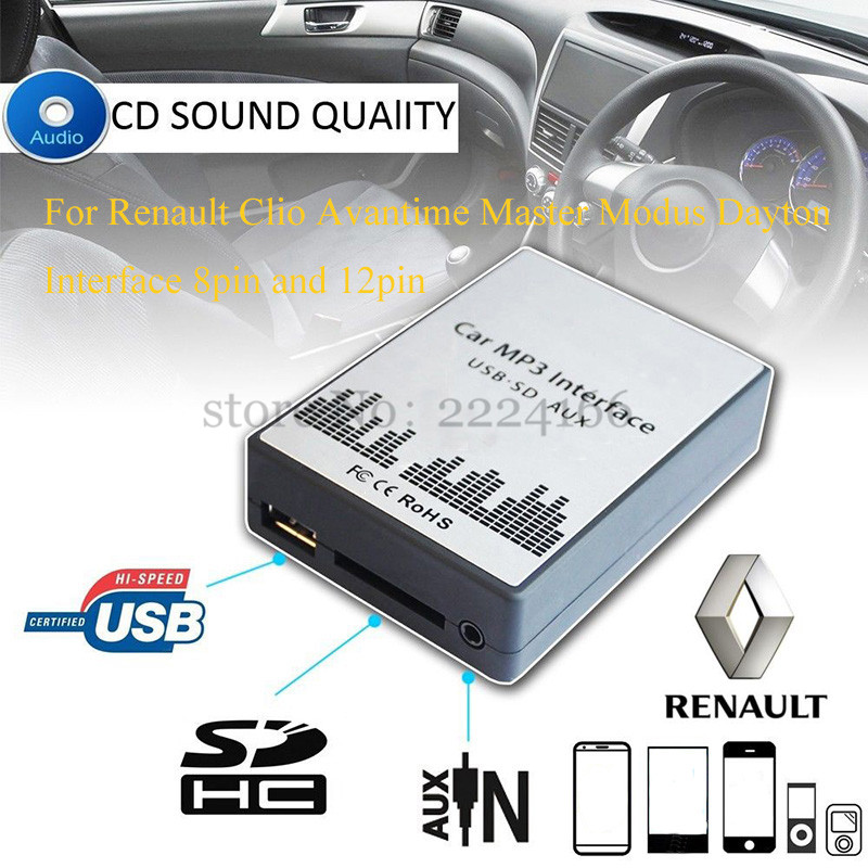SITAILE USB SD AUX <font><b>car</b></font> <font><b>MP3</b></font> music player Adapter for <font><b>Renault</b></font> Clio Avantime Master Modus Dayton 8in 12pin <font><b>Interface</b></font> <font><b>Car</b></font>-styling image