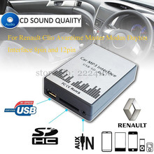 USB SD AUX car MP3 music player Adapter CD Changer for Renault 8 12pin Clio Avantime Master Modus Dayton Interface,car-styling