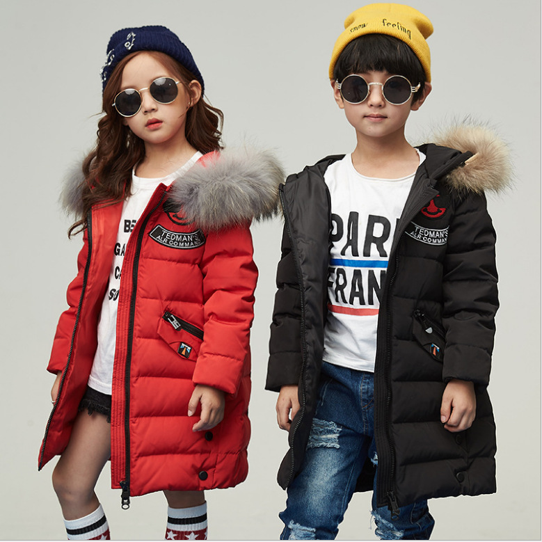 Boy and girl 2017 new Korean big thick fur collar jacket winter for size 6 7 8 9 10 11 12 13 14 years child long casual coat цены онлайн