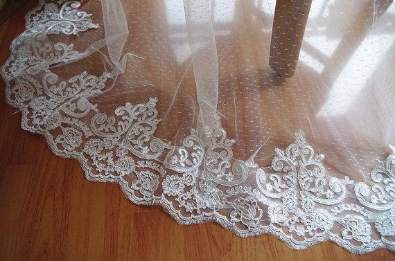 alencon lace trim, ivory cord lace trim, bridal lace border 10 yards, type CG074B