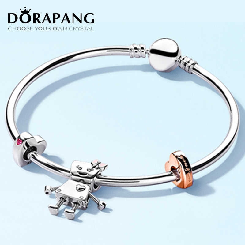 DORAPANG 100% 925 Sterling Silver Brand New Bracelet Rose Bella And Friends Family Bracelet Set Suitable For DIY Robot Gift dorapang 100