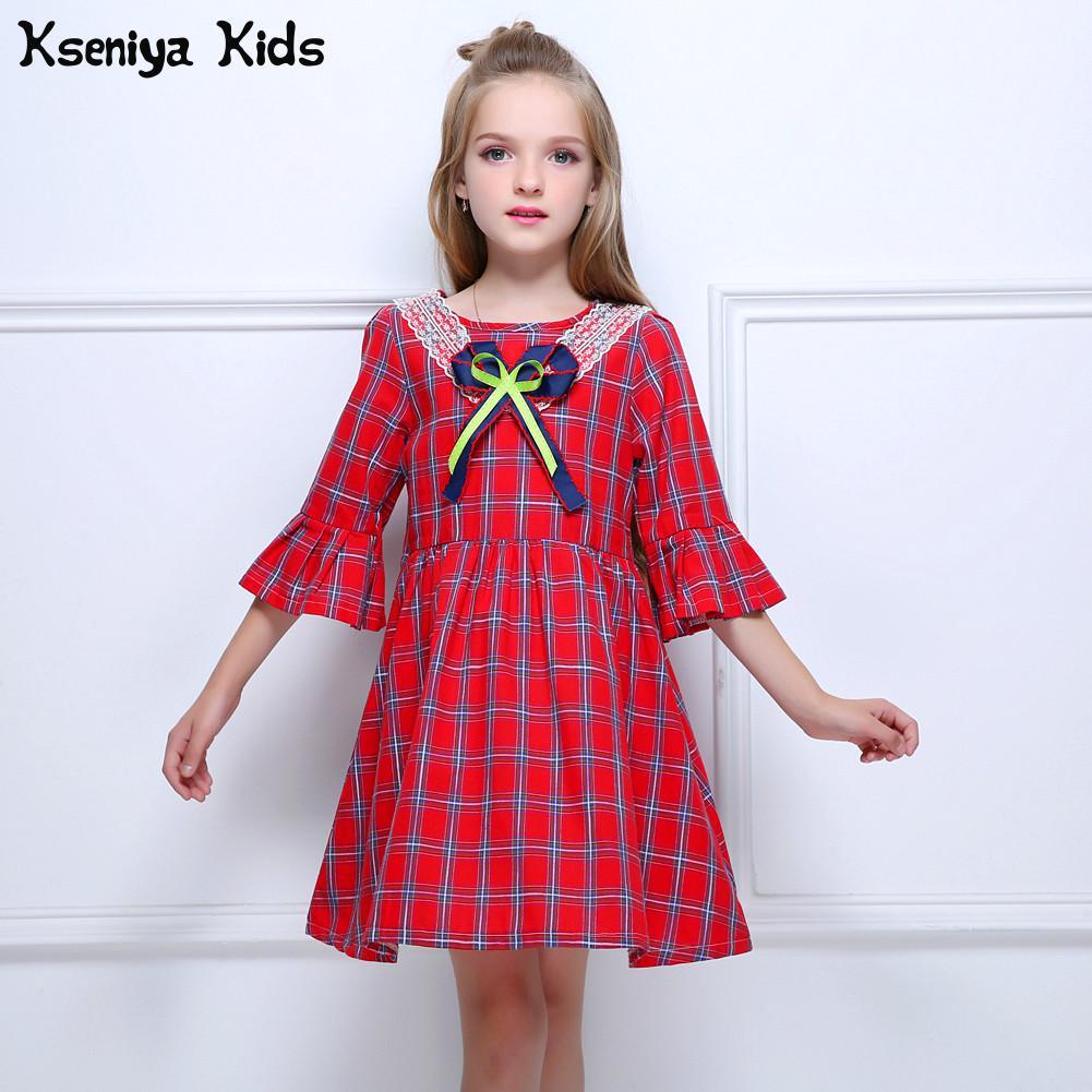 Baby Autumn Winter Solid Dress Kids Girls Bow Ruffles Bowtie Dresses Clothes UK
