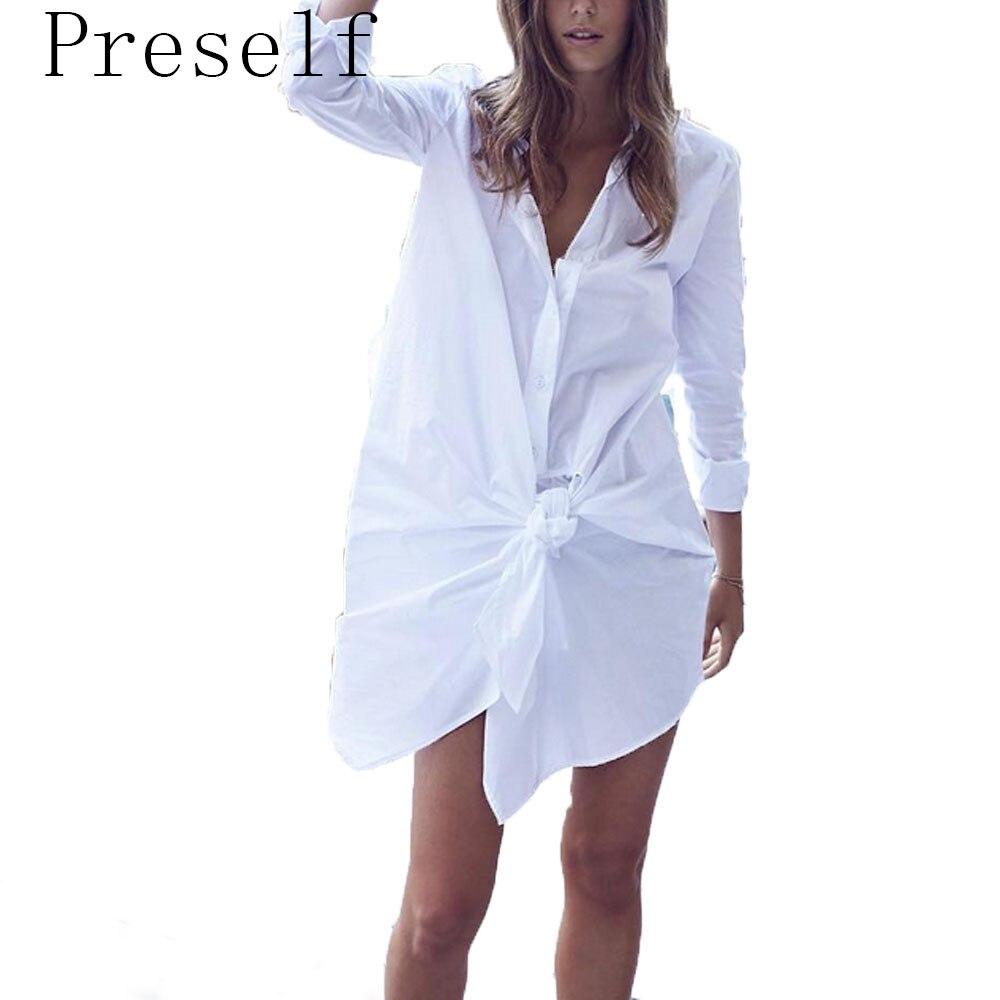 Preself shirt Loose Dress White black Long sleeves Women Ladies Street Fashion BF Style 2017 New summer Mini Dress
