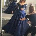 2017 de Manga Larga Vestidos de Baile con Escote V Azul Marino satinado prom dress con listones puffy formal vestidos de gala largos