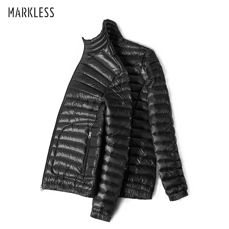 Markless зима Сверхлегкий утка Подпушка Для мужчин; брендовая одежда 90% Белые куртки-пуховики Стенд воротник бесшовные Теплая парка yra5312