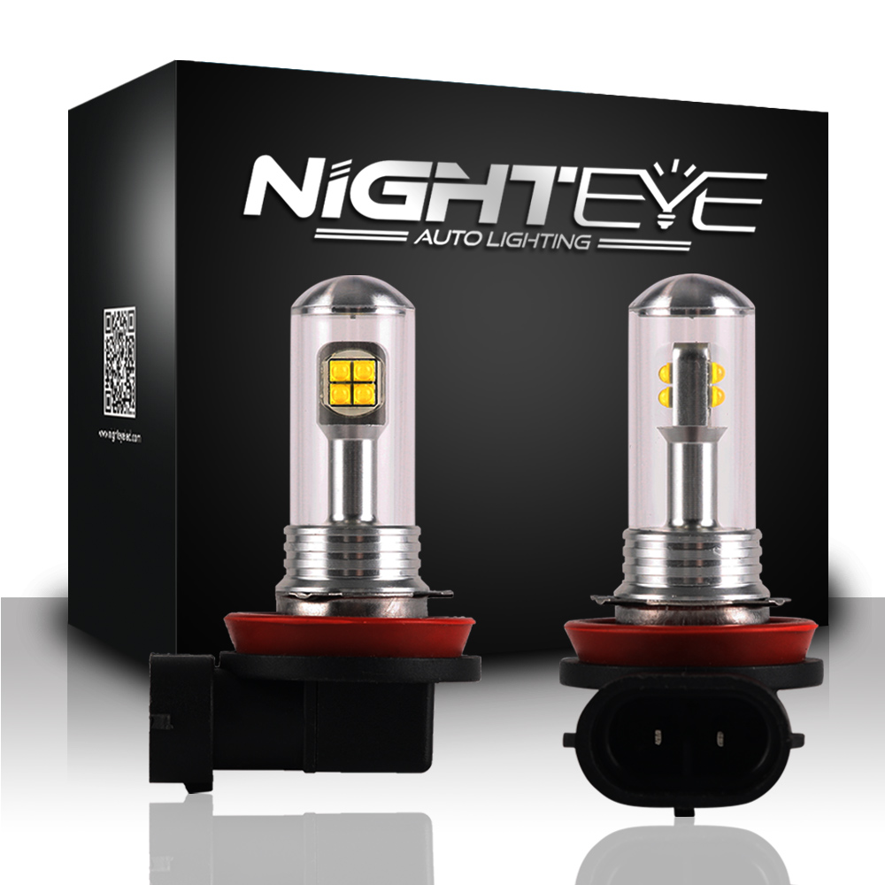 NIGHTEYE AUTO LIGHTING H11 80W 1500LM with CREE LED Chips Bulb 6000K White Car Fog Lamps DRL LED Lights Headlight DC 12/24V дефлектор auto h k gt 36964