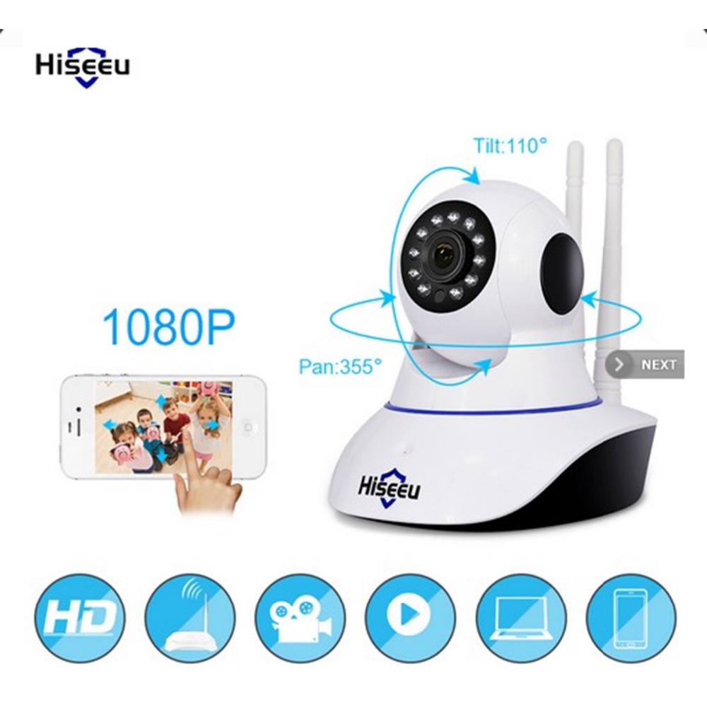 Hiseeu 1080 P vision nocturne caméra cctv Camaras De Seguridad HD Caméra moniteur pour bébé Mini endoscope wifi Pan Tilt IP Caméra Sony