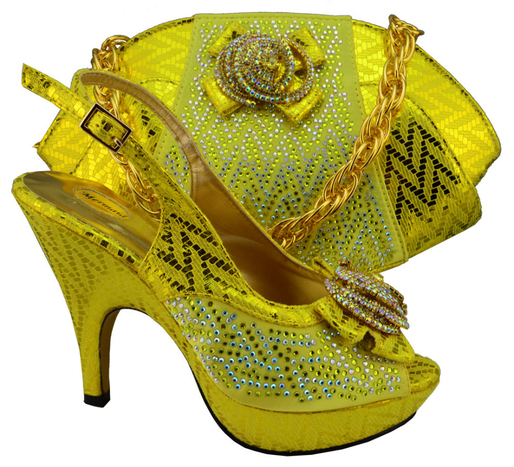 ФОТО Free Shipping,MM1003 Yellow in Newest lady Italian matching shoe and bag set for wedding and party in wholesale and retail.