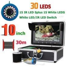 GAMWATER 10 дюймов 30 светодиодов 15 м 30 м 50 м 1000TVL рыболокаторы подводная рыболовная камера 15 шт. белые светодиоды+ 15 шт инфракрасная лампа