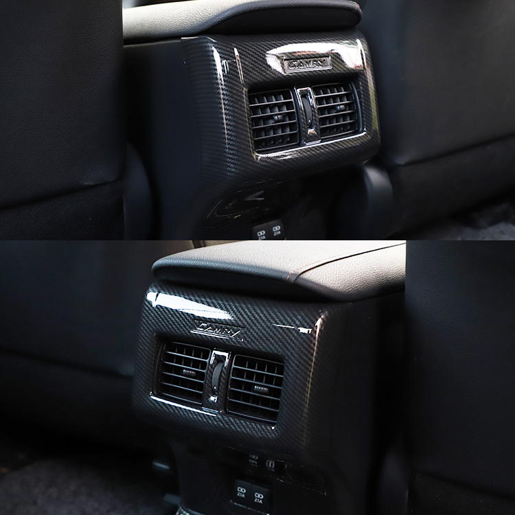 JY ABS Carbon Fiber Style Passenger Seat AC Vent Cover Trim Car Styling Accessories for Toyota CAMRY 70s 2018