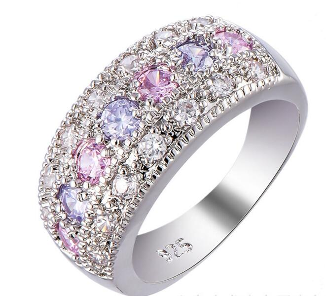 Female Pink Purple Zircon Ring 925 Sterling Silver Filled