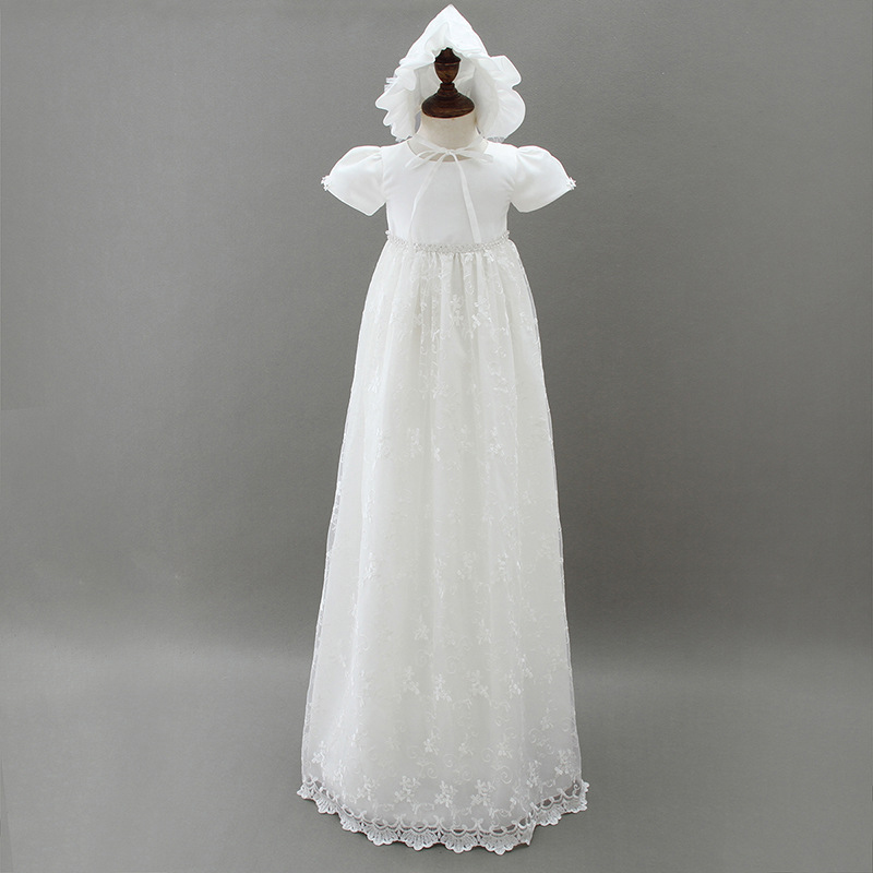 d1f6c92ddddc6 US $27.3 39% OFF|Christening Gown Ivory Baptism Dress with Bonnet Hat  Floral Lace Trim Tulle Dresses Long Beaded Embroidered Frock A015  Vestidos-in ...