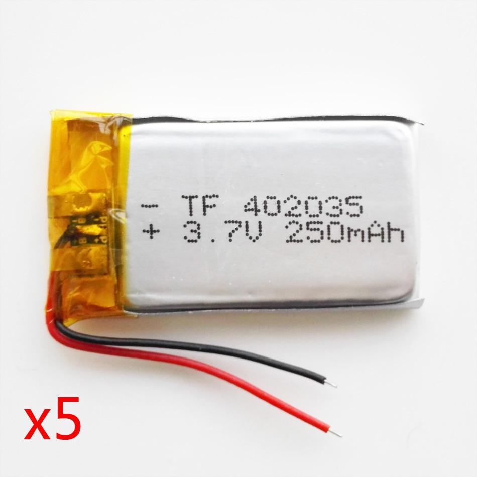 В партии 5 шт. 3,7 в 250 мАч 402035 литий-полимерный Li-Po Перезаряжаемые Батарея набор «сделай сам» для Mp3 MP4 MP5 gps Оборудование для psp bluetooth с защитой