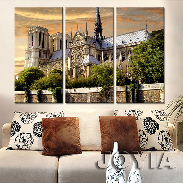 3 Piece City Buildings Dusk Landscape Wall Art Canvas Notre Dame Cathedral Photography Prints Paintings For