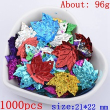 1000 PCS  21*22 mm maple leaf colorful shiny shiny PVC sequins costume jewelry DIY accessories 011002006