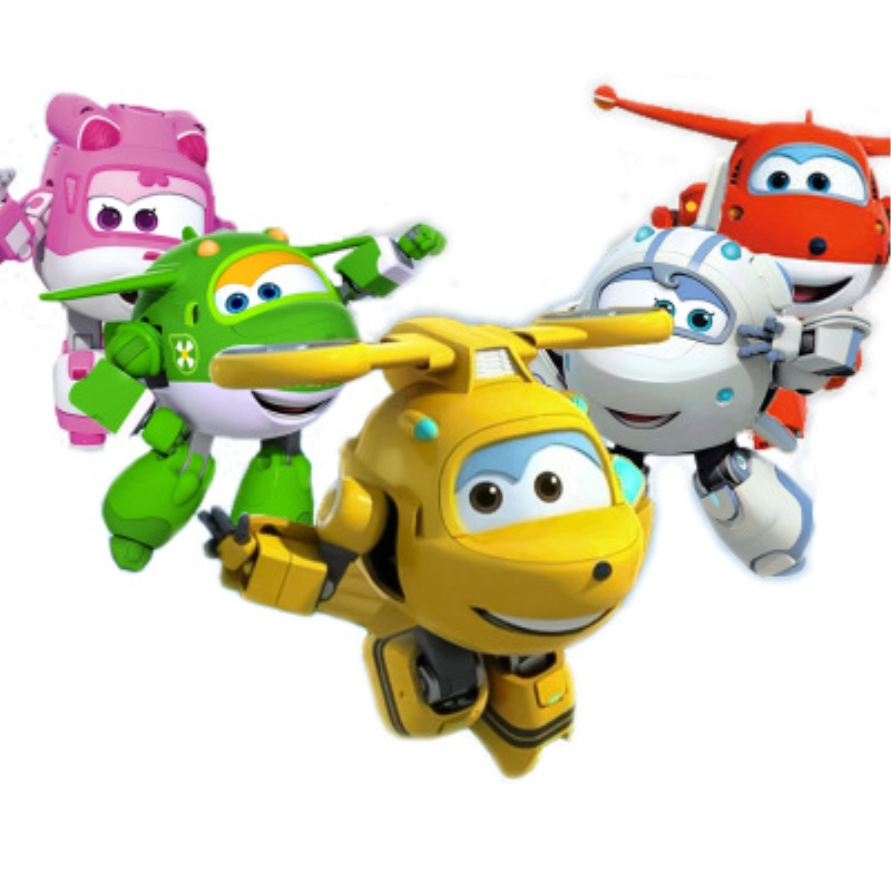 8Pcs TV Animation Super Wings Transforming Plane Mini Toys Characters kids 2017