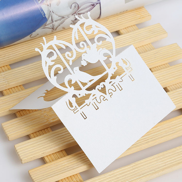 50pcs creative wedding invitation cards laser cut pearled paper 50pcs creative wedding invitation cards laser cut pearled paper beloved birds place card name cards for stopboris Image collections