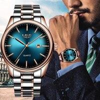 Lige top Бренд роскошные часы Для мужчин Нержавеющаясталь Водонепроницаемый спортивные часы кварцевые Для мужчин наручные часы Бизнес часы
