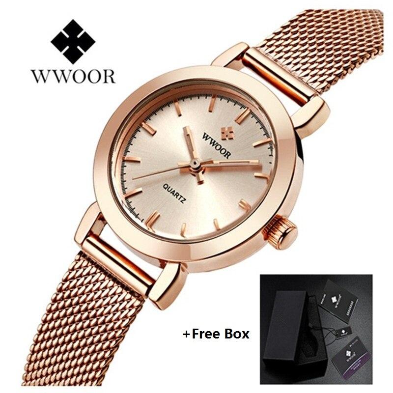0b699152 Купить WWOOR женские наручные часы для женщин ультра тонкий кварцевые часы  Мода повседневное часов браслет часы reloj mujer acero inoxidable Продажа  Дешево