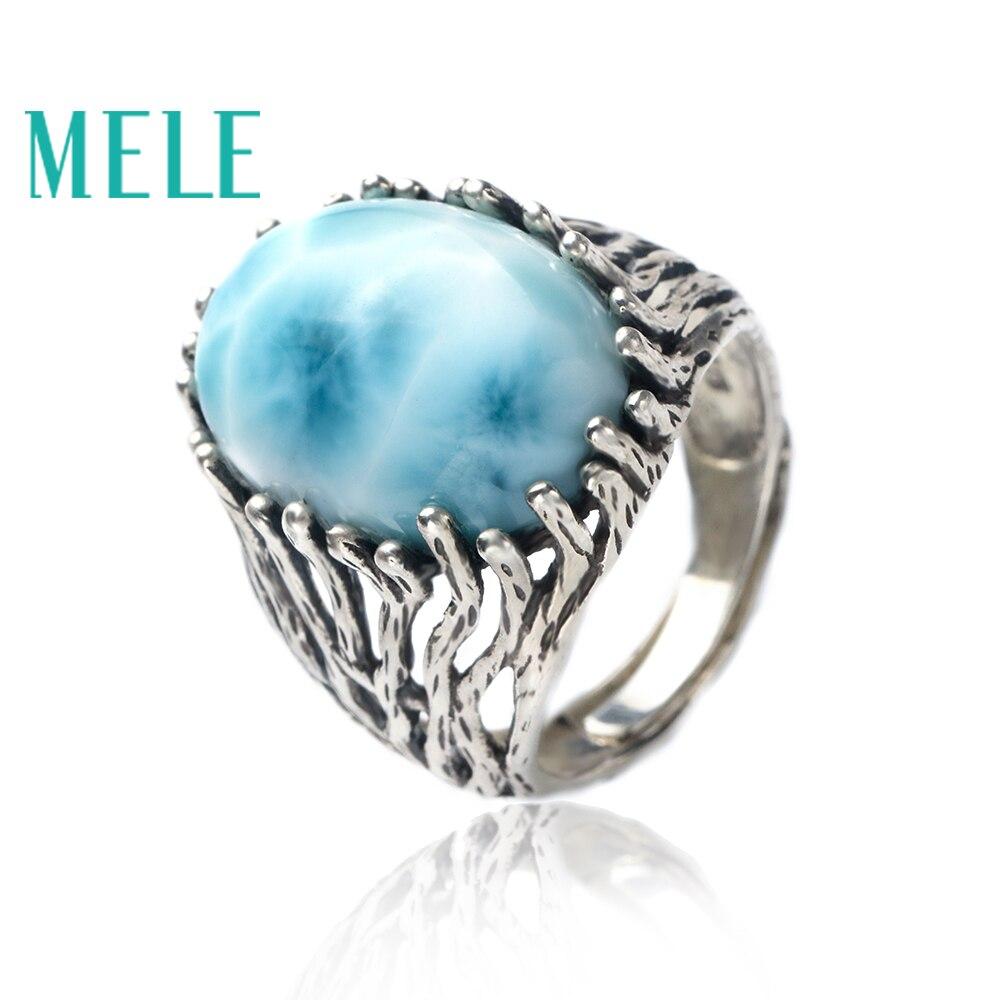 Натуральный larimar Серебро 925 Кольцо для женщин и мужчин, большой овальной огранмм Ки 13 мм * 18 драгоценный камень ювелирные украшения с модной и...