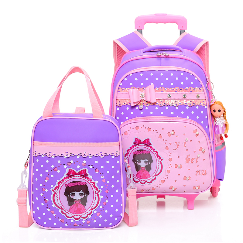 Girls School Bag With Wheels Kids 3 Wheel Trolley Bag For Children Dot Pattern School Backpack Waterproof Nylon Kids Backpack