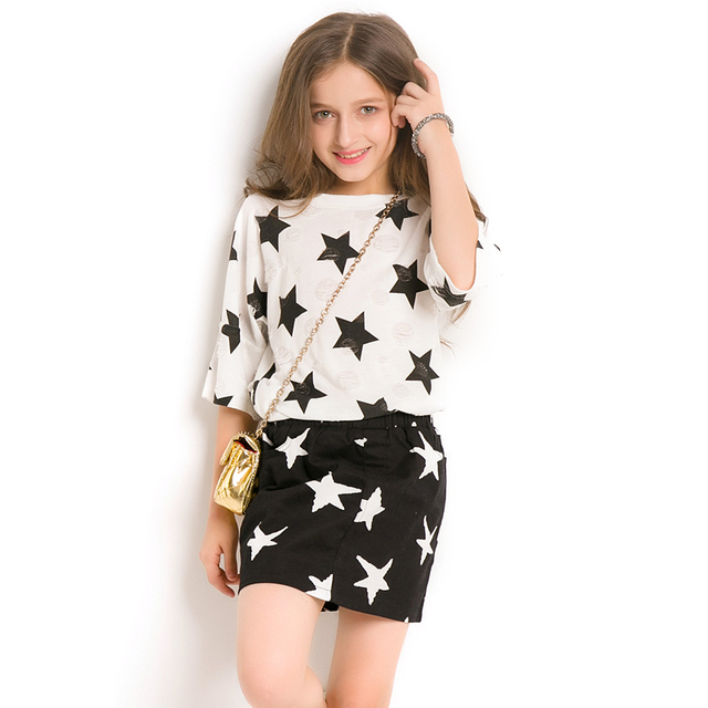 Girls Clothing Sets 2018 Hot Summer star Half Sleeve T-Shirt +Skirt 2Pcs  teen Suits For Girl costume Age 6 8 10 12 14 Years old 00343e858ea7