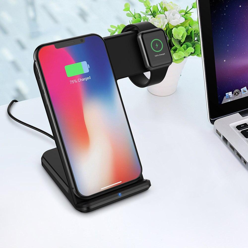 Chargeur sans fil rapide 2 en 1 pour Apple Watch 4 3 2 pour IPhone 8 Plus X XS Max XR Samsung chargeur de charge sans fil USB