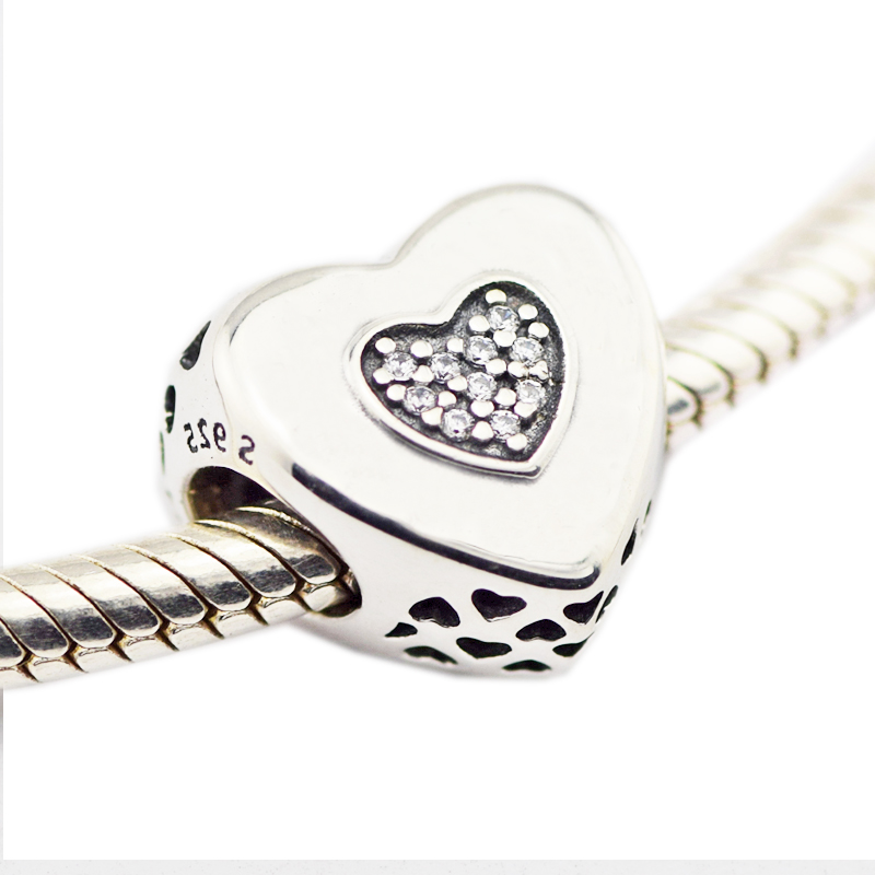 Fits for pandora Bracelets New Original 100% 925 Sterling Silver jewlry Heart to Heart Chamrs beads DIY making free shipping