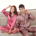 Top Grade Silk Purple Pink Lovers Pajamas Sets Fashion Young People Loungewear Pajamas Set Spring Autumn Men Women Nightwear