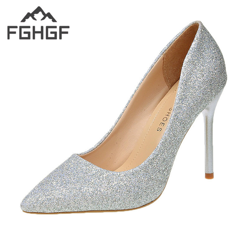FGHGF 2019 Spring Glitter Gold High-heeled Shoes Pointed Silver Fine With Women's Shoes Bridesmaid Wedding Shoes Mujer 7cm 10cm