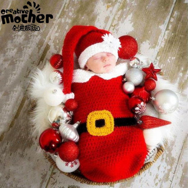 0-6months Christmas Theme Newborn Baby Unisex Photography Props Costume Infant Baby Sleeping Bag Santa Beahies Hat Free Shipping