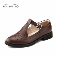 Women Genuine Leather Oxford Buckle Sandals Shoes Women Handmade Vintage Round Toe Deep Summer Brown Oxford