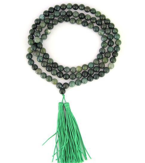 Moss Green Agate Gem-Stone 108 Buddhist Prayer Beads Japa Mala Necklace,Perfect Agate Jewelry
