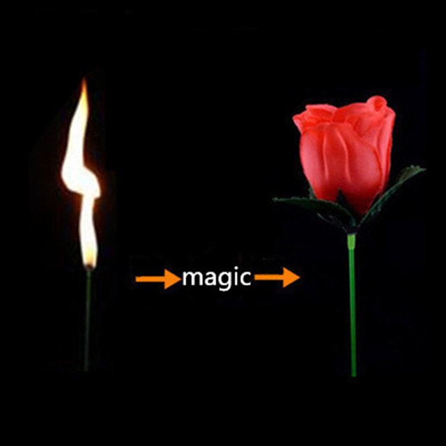 4 pcs High Quality wholesale Price Stage Close Up Magic Trick Torch To Rose Tricks Popular Fire Flame Appearing Flower
