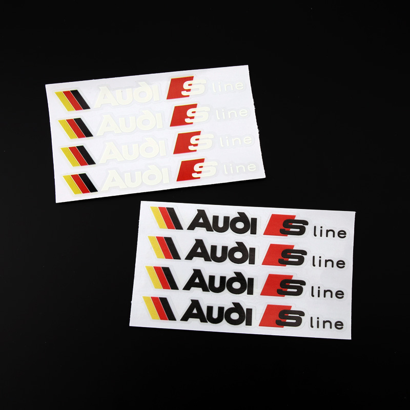 4pcs ETIE Car Styling Vinyl Wrap Adhesive Audi Sport Stickers Decals Audi S Line Logo Sticker Design For Motorcycle Accessories-in Decals u0026 Stickers from ...  sc 1 st  AliExpress.com & 4pcs ETIE Car Styling Vinyl Wrap Adhesive Audi Sport Stickers Decals ...