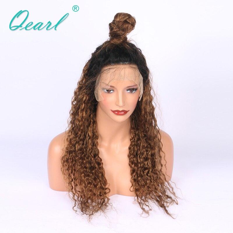 Épais 180% Densité Ombre 1b/30 # Cheveux Brésiliens Bouclés Avant de Lacet Perruques Avec Bébé Cheveux + Pré-pincées Dégarni de Cheveux Humains Perruque