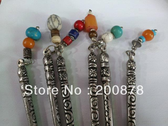 L053 Tibetan silver antiqued lady hair stick vintage ancient hairwear