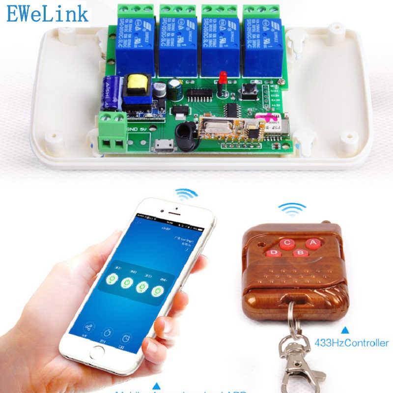 WIFI Switch 4ch5V/32v 4-way Relay rf receive Jog Inching Self-locking  wireless remote control for smart home Automation Modules