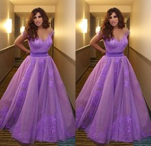 2017 Inspired by Najwa Karam Celebrity font b Dresses b font Saudi Arabia Dubai Appliques Purple