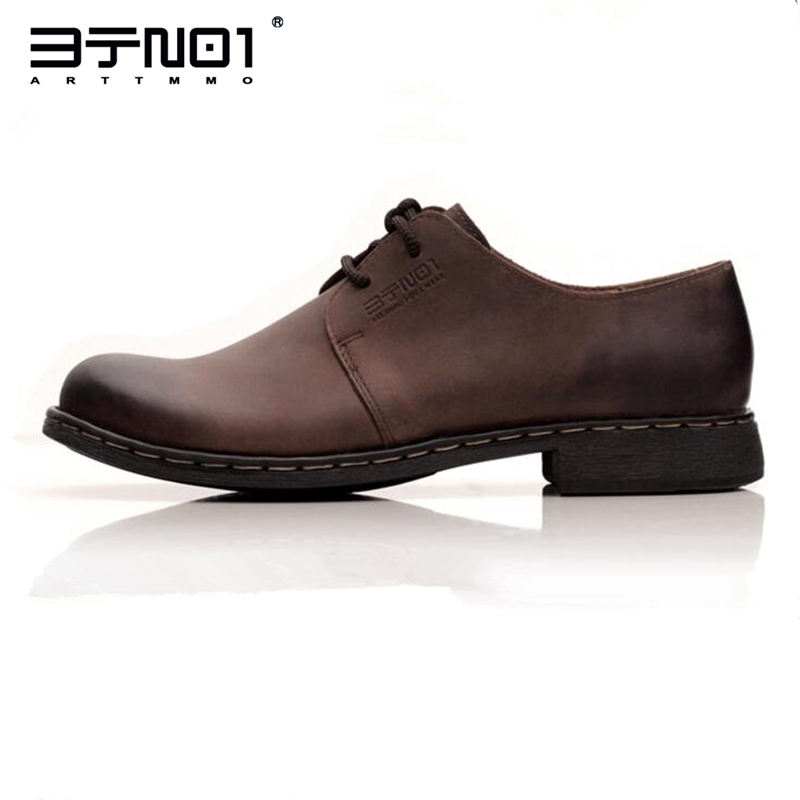 Retro EUR 37-44 Mens Genuine Leather Lace Up Retro Round Toe Oxfords Casual Chukkas Shoes Formal Dress Wedding Shoes top quality crocodile grain black oxfords mens dress shoes genuine leather business shoes mens formal wedding shoes