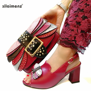 Image 2 - Mature Style Italian Ladies Matching Shoe and Bag Pu Nigerian Shoes and Bags Set for Party Women Shoe and Bag To Match in Pink