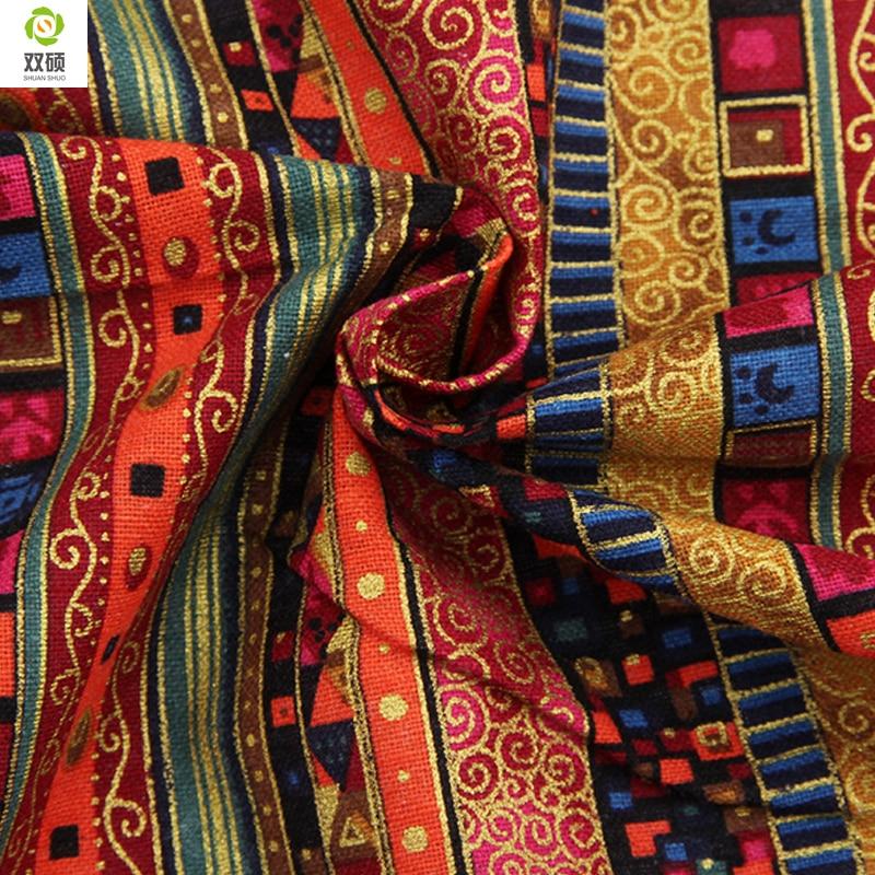 Floral African Cotton Linen Vintage Fabric Diy Handmade