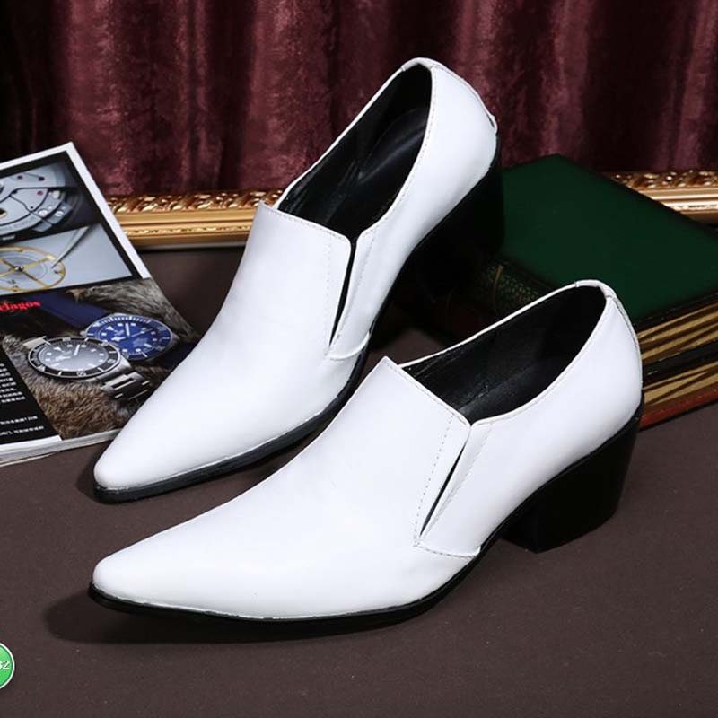 White Men Genuine Leather Oxfords Slip On Mens Wedding Dress Shoes Pointed Toe Business Leather Shoe High Heels Loafers white genuine leather shoes with fashion buckle handmade men oxfords wedding party dress shoes men s high heels pointed toe shoe