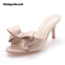 US4-9 New Real Leather Silk Sandals Womens Summer Low Heel Shoes Outdoor Slides OL Casual Slipper