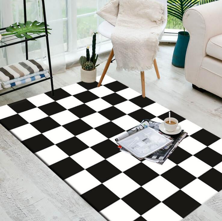 Grand européen géométrique noir et blanc tapis zone tapis pour chambre salon cuisine bains tapis porte tapis anti-dérapant maison tapis