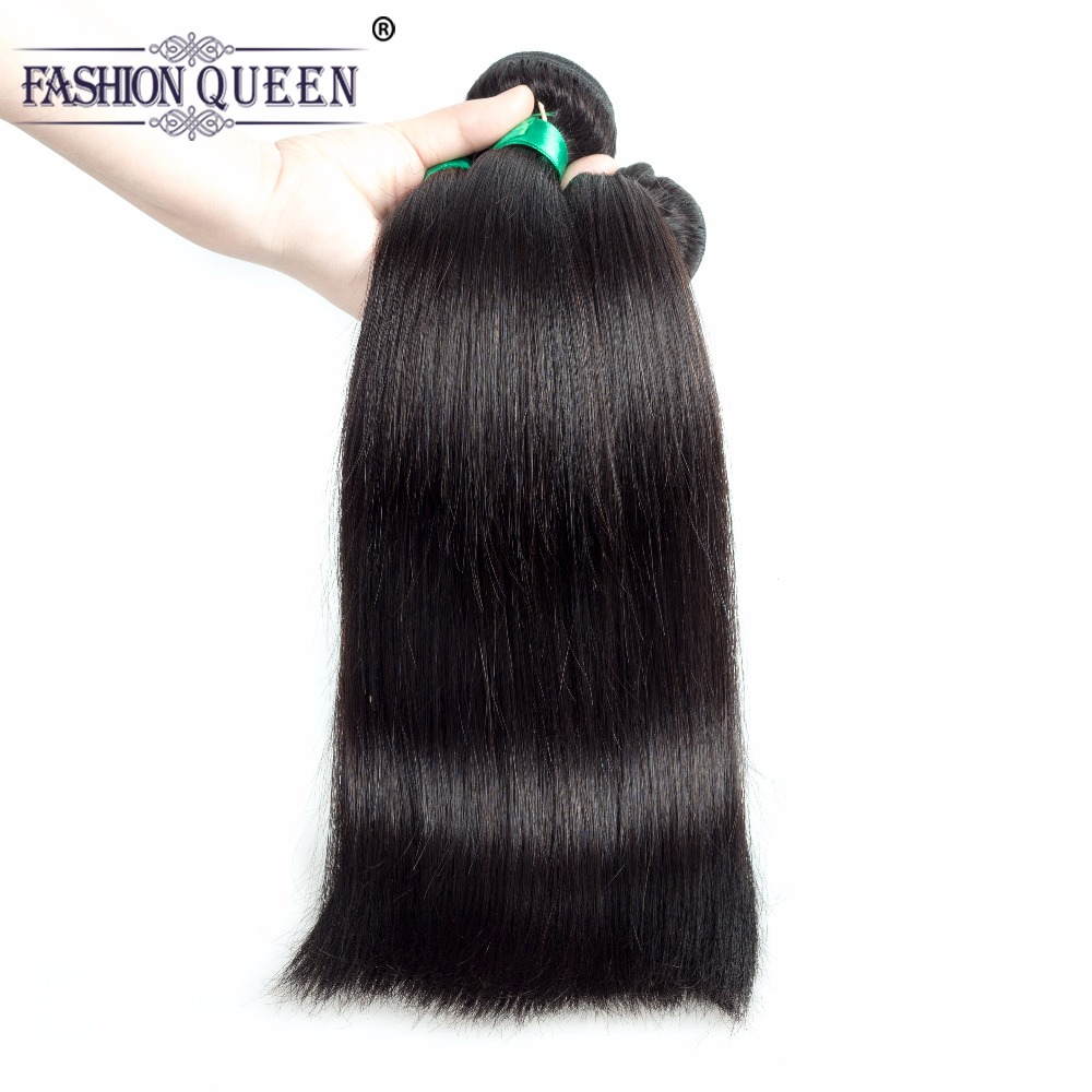 Fashion Queen Hair 3 Bundles Deals Peruvian Straight Hair Weave Bundles 100% Human Hair Extensions Natural Color Hair Weave