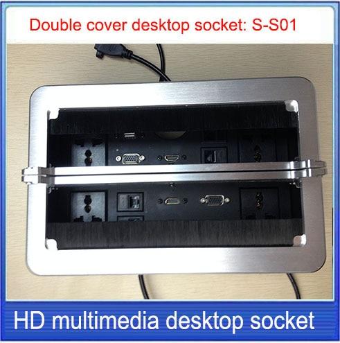 Double brush cover desktop socket/Aluminum socket/USB,VGA,HDMI,network,RJ45 information Outlet box /Hidden desktop socket: S-S01