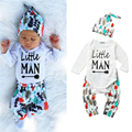Baby Boys Clothing Sets Kids Cotton Suits Infant Little Man Print Christmas Clothes Casual Sets 3Pcs Hat+Bodysuits+Pant 0-24M